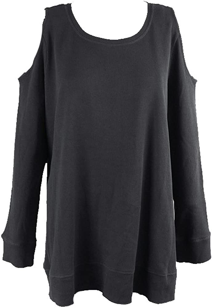 Style & Co. Womens Plus Cold-Shoulder Thermal Pullover Top Black 0X
