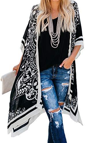 May Story - Kimono de verano para mujer, estilo informal, estampado retro Negro-2 Talla única