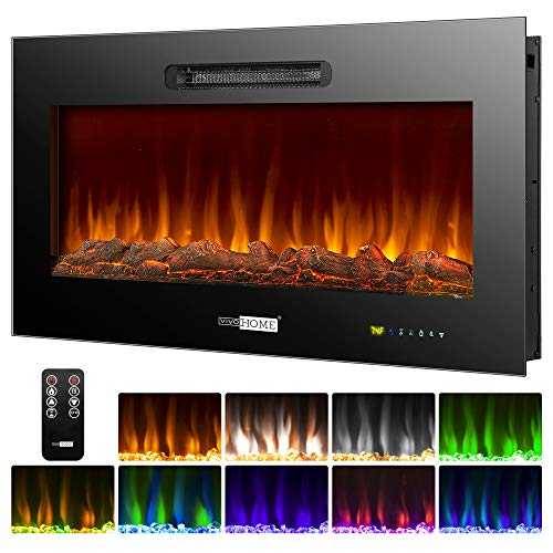 VIVOHOME 36 Inch 750W / 1500W Wall Mounted and in Wall Recessed Electric Fireplace Heater with Remote Control Touch Screen, ETL Certified, Overheating Protection, 9 Flame Color, Log Set and Crystal