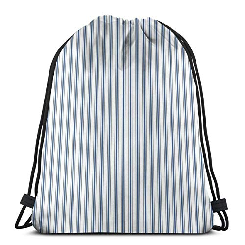 Lsjuee Bolso de Hombro con cordón Colchón Marcado Patrón de Rayas estrechas en Azul Oscuro y Blanco Mochila Bolsa de Deporte Bolsas de Hilo Mochila Escolar Gimnasio Ligero