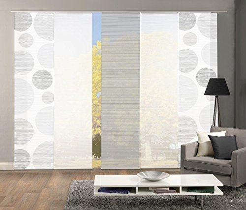 Vision S 95553 | 5er-Set Schiebegardinen Borden | halb-transparenter Stoff in Bambus-Optik | 5X 260x60 cm | Farbe: (grau)