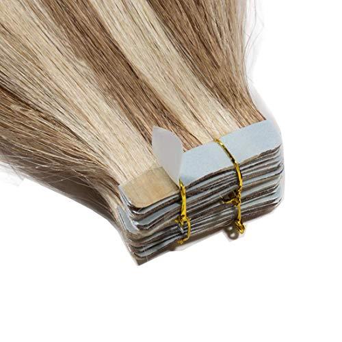 35cm Tape in Extensions Echthaar Remy Human Hair Haarverdichtung Haarverlängerung glatt 40g 20 stück X 4cm #12/613 hell Gold-braun/gebleichtes Blond
