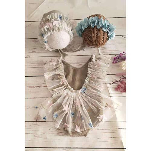 POHOVE Baby-Fotografie-Requisiten, Spitzenmütze, Strampler für Neugeborene, Mädchen, Fotoshooting-Outfit-Set, Prinzessinnen-Kostüm mit Hut, Blume, Stirnband, Weste, florales klassisches Outfit