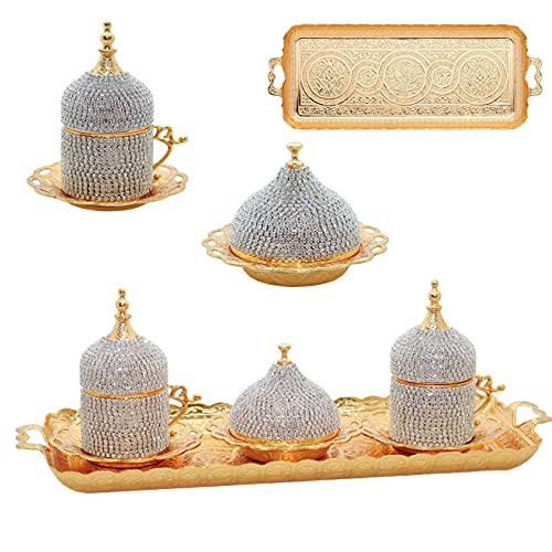 Alisveristime Ottoman Turkish Greek Arabic Espresso Coffee Cups with Saucer and Lid (Crystal Set) (Set of 2) (Gold)