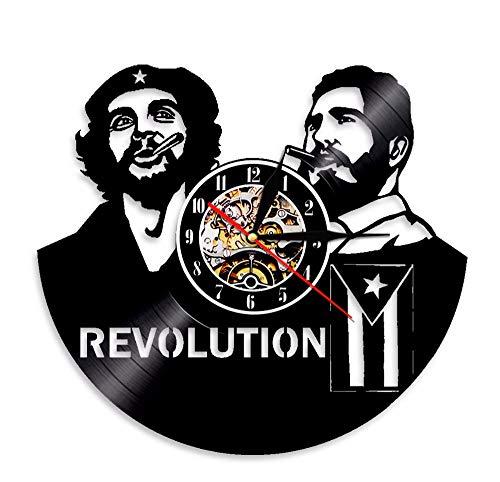 Ytdzsw 1 Pièce Cubain Che Guevara Fidel Castro Révolution Applique LED Éclairage Décor À La Maison Vinyle Record Horloge Murale À La Main Cadeau