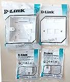 D-Link 2 RJ45 CAT6E LAN I/O Network Keystone Jack + Gang Box + Dual Port Face Plate (Combo)
