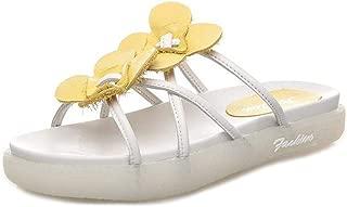 VOWAN Women's Comfort Open Toe Criss Cross Strappy Platform Slide Sandals Summer Leather Slip on Slippers