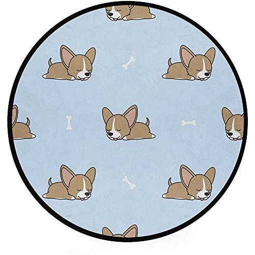 Liz Carter 60cm Runder Teppich Chihuahua Welpe mit Knochen Art Deco rutschfeste Rückseite Spielbodenmatte für Wohnzimmer Schlafzimmer