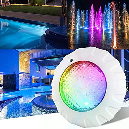 Ankishi Iluminación LED de 38 W para piscina con mando a distancia RF, IP68, resistente al agua, luz para estanque, luz RGBW, CA/CC, 12 V, para exteriores, para acuario, piscina, jardín