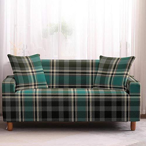 Fundas de sofá seccionales, elásticas, elásticas, para sofá, funda de sofá con diseño geométrico a cuadros, 1 plaza, color 4