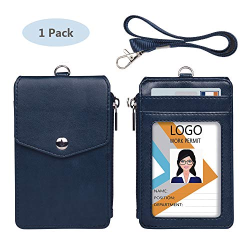 Leather Badge Holder with Lanyard,1 Clear ID Window and 3 Card Slots with Secure Snap Button Cover, 1 Zipper Wallet Pocket,1 Durable Nylon Lanyard for Offices ID,School ID, Credit Cards-Blue