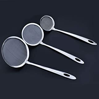 Anniup - Juego de 3 coladores de acero inoxidable para escurridor, cuchara para cocinar aceite, colador para colador, filtro de alambre de malla fina con mango largo para grasa o estofado de espuma