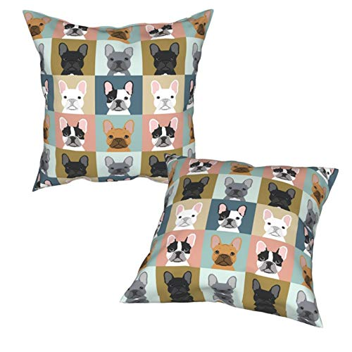 French Bulldogs Dog Throw Pillow Covers Square Decorative Soft Cushion Case for Couch Bedroom Car Sofa Pillowcase 18 x 18 Inch