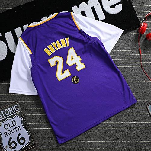 XMYM Camiseta de Baloncesto Kobe Bryant Los Angeles Lakers, Primeros 8 Espaldas 24 Uniformes de Baloncesto Falsos de Dos Piezas, Ropa Deportiva Deportiva Transpirable de Secado rápido Purple-XXL