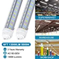 T8 T10 T12 LED Light Tube ,8ft 65W R17d (Replacement for F96T12/CW/HO 150W),Dual V-Shape 8Ft Tube Light, 6000K 4000K, Clear Milky cover Lens,Dual-Ended Power,Pack of 10,US SHIP