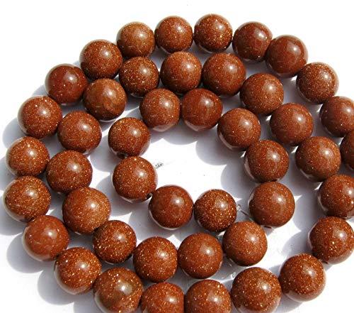 beadsvision GOLDFLUSS 8mm Goldbraun Perlen rund Schmuckperlen 1 Strang