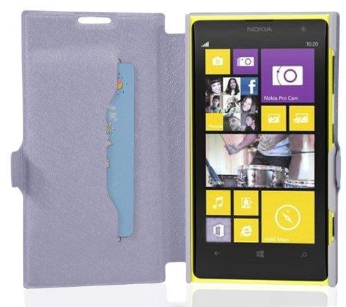 Cadorabo - Custodia Book Style Slim Line per  Nokia Lumia 1020  con Supporto Funzione e Vani di Carte – Etui Case Cover Involucro Bumper in Icy-Lila-Orchidea