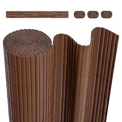 LARMNEE PVC Sichtschutzmatte, 80 x 400 cm Balkonverkleidung, Sichtschutzzaun, mit verstärkten Lamellen und Kablebindern, Balkonumrandung, Garten, Balkon, Braun EBR480LB02