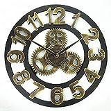 Reloj de pared con números romanos para sala de estar, relojes de pared con engranajes industriales que no hacen tictac, estilo decorativo, 40 cm, café, hotel, oficina, decoración del hogar, rega