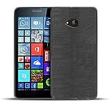 Conie BC19567 Brushed Case Kompatibel mit Microsoft Lumia 535, Silikonhülle Rückschale mit Anti Rutsch Hülle für Lumia 535 Backcover Black