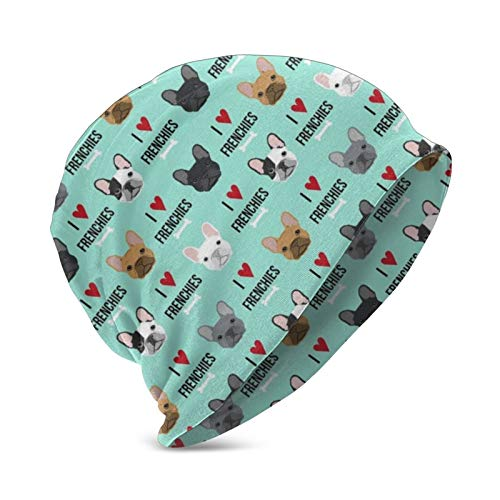 Frenchie Dog Fabric I Love French Bulldogs Fabric Frenchie Face Aqua Beanie hat Kids Super Soft 100% hat Knitted hat Turban