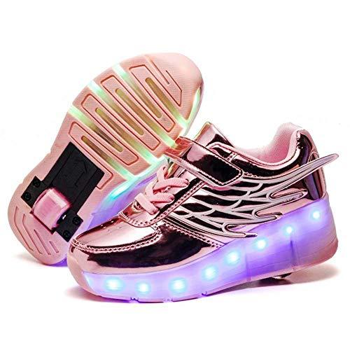 JYMEI Unisex LED Luz Flash Zapatos De Roller con USB Recargable Automática Ruedas Patines Zapatillas con Ruedas Deportes Zapatos Sneakers para Unisex Niños Niñas Gift,Pink-34