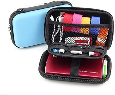 2-Layers Protective Hard Shell Travel Organizer Carrying Case Bag For External Hard Drive Electronic Accessories Diabetic Testing Kit Blood Glucose Monitoring System Healthcare kit Camera (Light blue)