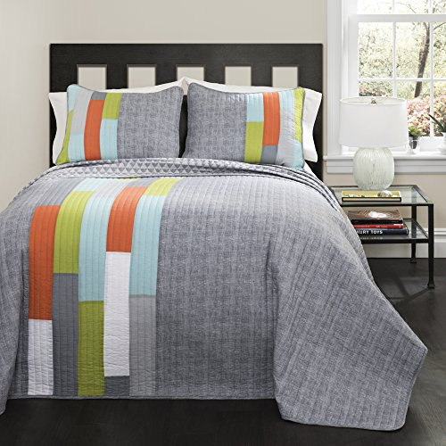 Lush Decor 2 Twin-Gray and Orange Shelly Stripe Quilt | Modern Geometric Pattern Reversible 3 Piece Bedding Set