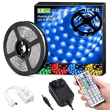 LE LED Strip Lights 16.4ft RGB 5050 LED Strips with Remote Controller Color Changing Tape Light with 12V Power Supply for Room Bedroom TV Kitchen Desk