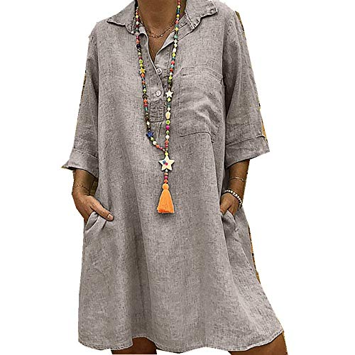 x8jdieu3 Summer New Solid Color V-Neck Loose Urban Casual Large Size Seven-Point Sleeve Dress Five-Color Eight-Size Women's Clothing Khaki