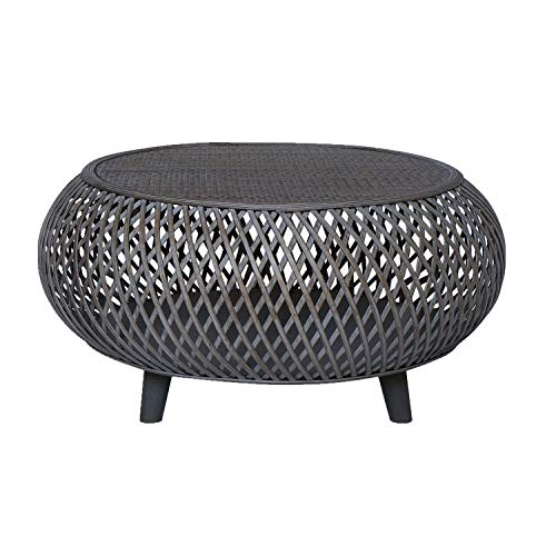 RANDEFURN Round Coffee Table,Bamboo Rattan Wood Center Table, 33x15.8Inches,Handwoven Wicker Sofa Table, Coffee Tables for Living Room,Home Office,Indoor,Grey