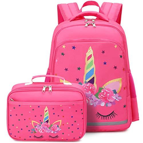 CAMTOP Backpack for Girls Kids School Backpack with Lunch Box Preschool Kindergarten BookBag Set (Y0058-2 Rose-Pink)