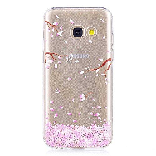 DENDICO Cover Galaxy A3 2017, Trasparente Sottile Custodie Protettivo in Silicone per Samsung Galaxy A3 2017, Protezione Antiurto Paraurti Cover - Fiore di Ciliegio