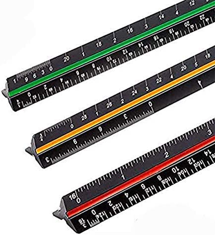 Sooez 12 Architectural Scale Ruler Aluminum Color Coded Grooves Triangular Scale Laser Etched product image