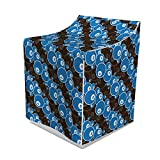 Lunarable Billiard Washer Cover, Creative Continuous Pool Game Pattern of Eight Balls, Suitable for Dryer and Washing Machine, 29' x 28' x 40', Dark Brown Dark Taupe Sea Blue and White