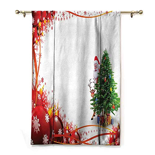 Noise Reducing Curtain Father Christmas and Reindeer Smiling Behind a Festive Pine Tree in Red Balls Frame Thermal Insulated Drapery Drapes for Living Room (Rod Pocket Panel, Width 36' x Length 64')
