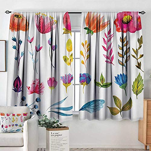 Elliot Dorothy Curtains for Bedroom Flower,Watercolor Style Flowers Tulips Roses Colored Leaves Garden Plants Design Print,Multicolor,Darkening and Thermal Insulating Draperies 42'x72'