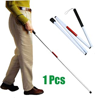 Folding Blind Walking Stick White Cane for The Blind Person Mobility Guide Cane Reflective Red - 49 inch Collapsible Aluminum Canes Equipment for Blind People and Vision Impaired