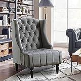 Altrobene Modern Velvet Accent Chair, Living Room/Bedroom/Home Office Chair, Tall Wingback, Grey