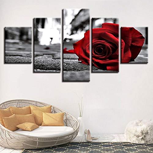 ZJJBH Fresko 5 Stücke Leinwand Wandkunst Wandmalerei Ölgemälde 150 * 80Cm Modulare Poster Schwarzweißdrucke Für Wohnzimmer Dekor Wandkunst Gemälde 5 Stück Romantische Rote Rose Blumen Leinwand Bilder