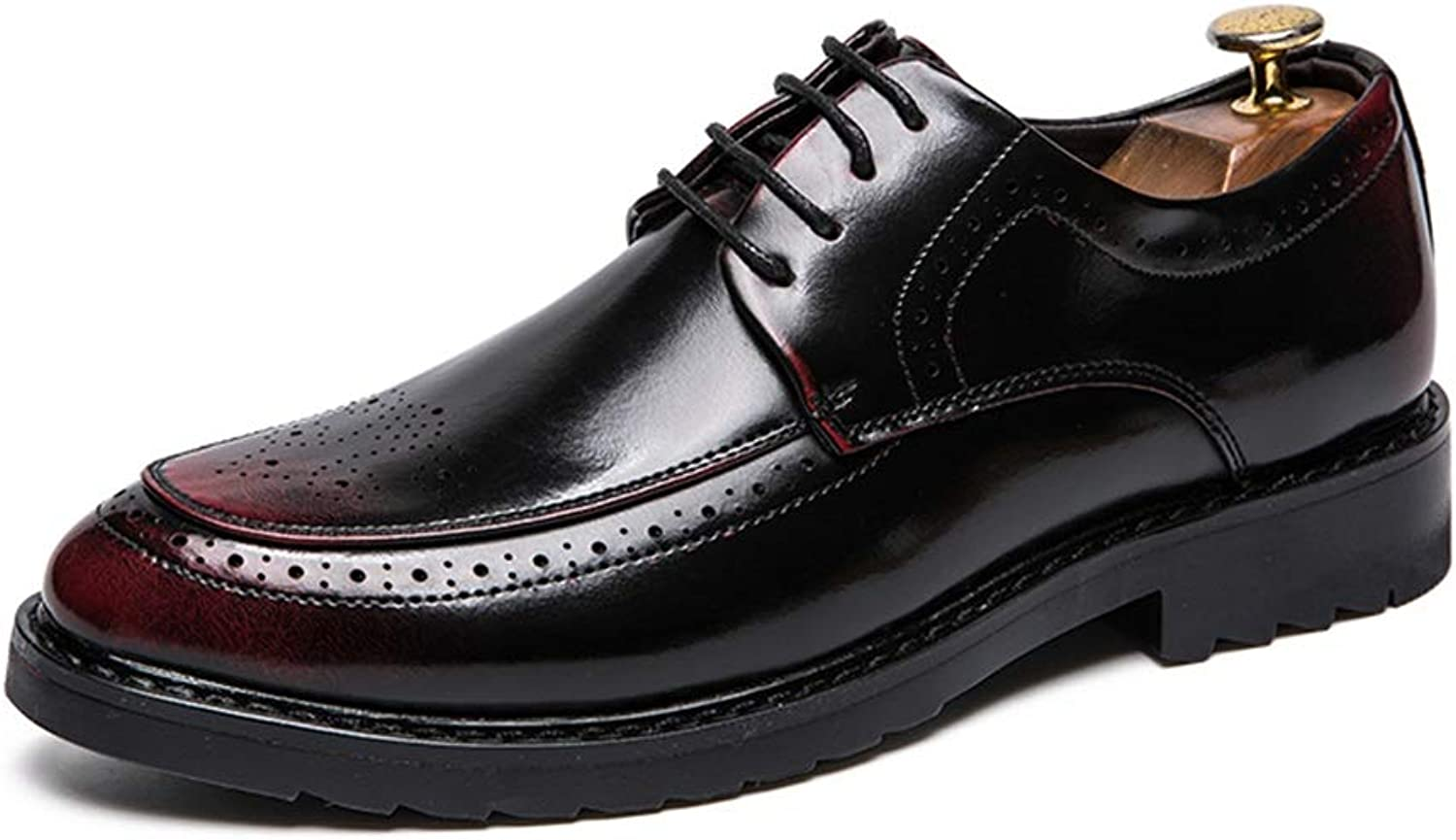 CHENXD shoes, Men's Fashion Style Carving Low-top Business Oxford Casual Patent Leather Leisure shoes