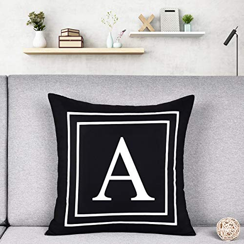 Alishomtll Alphabet Letter Cushion Covers, Pillow Case Soft Plush Pillow Decorative Pillow Cover, 18x18 Inch Cover Cushion Case Black 45 x 45cm (A)