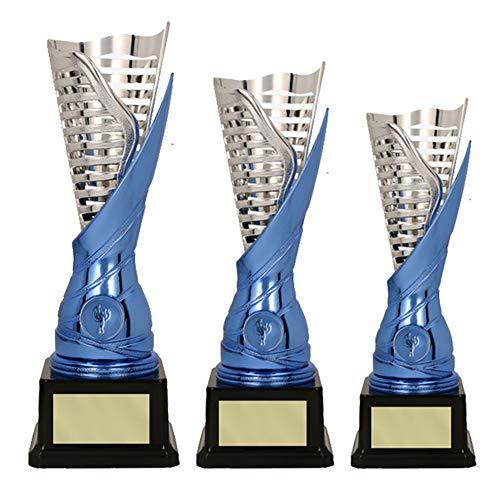 RaRu 3er-Serie extravagante Sport-Pokale mit Wunschgravur und Sport-Emblem (Flamme Silber/blau) (Dart)