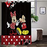 WOMFUI Mick_ey Mouse Shower Curtain Water Proof Minnie Mouse Shower Curtain Sets for Bath Room Curtain Decor with Hooks