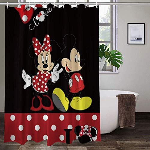 Mick_ey Mouse Shower Curtain Water Proof Minnie Mouse Shower Curtain Sets for Bath Room Curtain Decor with Hooks
