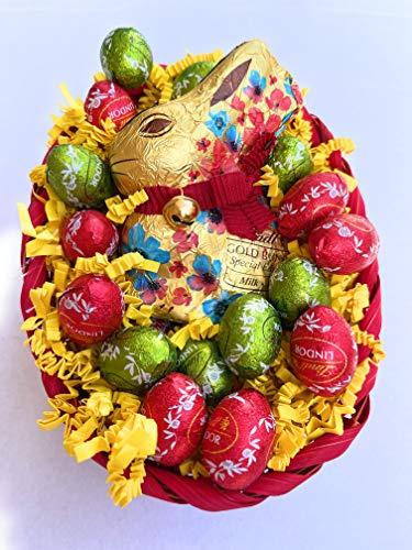 Lindt Pasqua Cesto Lindor - Gold Bunny Flower 100g + Lindt 16 Ovetti Sfusi Assortiti Lindor