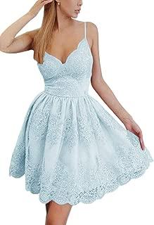 Jonlyc A-Line Spaghetti Straps V-Neck Lace Short Homecoming Dresses