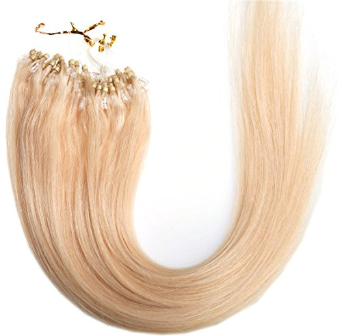 """Emosa 22"""" 50g 100strands Stick Micro Loop Straight Human Hair Extensions #613 Blonde"""