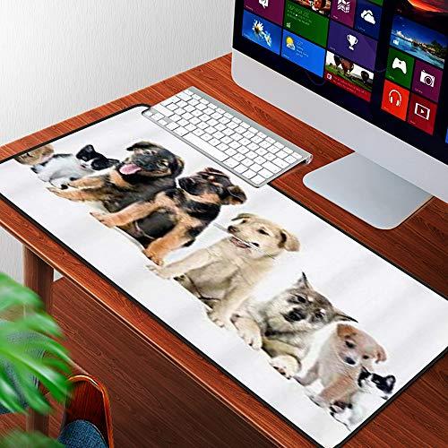 Luoquan Alfombrilla Raton Grande Gaming Mouse Pad,Gato y Perro hámster Grupo de Mascotas Lindas,Lavable, Antideslizante Diseñada para Gamers, Trabajo de Oficina