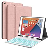 Backlit Keyboard Case for iPad 10.2 8th 7th Generation - JUQITECH Case with BT Keyboard for iPad 10.2' 8th 2020 7th 2019 Wireless Tablet Detachable Keyboard Stand Cover with Pencil Holder, Rose Gold